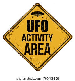UFO activity area vintage rusty metal sign on a white background, vector illustration