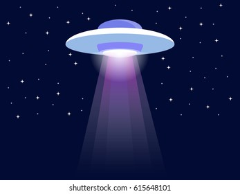 UFO alien flying with lights Icon