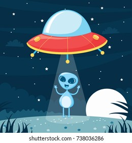 Ufo Alien Vector Illustration