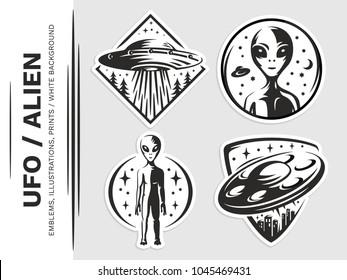 UFO / Aliens emblem, vector illustration, print, sticker, patches, badges set on a white background.