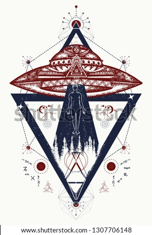 fcc37157c Tattoo two color. T-shirt design. Mystical symbol paranormal phenomena,  first contact - Vector