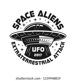 UFO or aliens spaceship vector emblem in vintage monochrome style isolated on white background