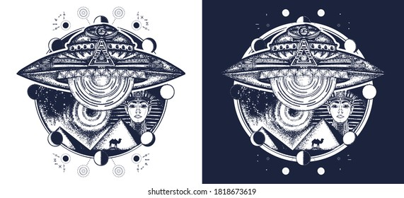 UFO and ancient Egypt tattoo art. Paleocontact concept. Aiens, ancient astronauts. Spaceship over pyramids of Egypt t-shirt design. Black and white vector graphics