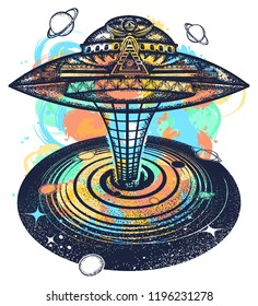 Ufo and black hole tattoo and t-shirt design watercolor splashes style. Symbol of science, astronomy, gravitational waves, curvature of space and time. Wormhole. UFO sci-fi art