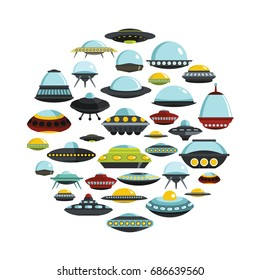 Ufo cartoon icons set on circle. Ufo vector illustration for design and web isolated on white background. Ufo vector object for labels, logos and advertising