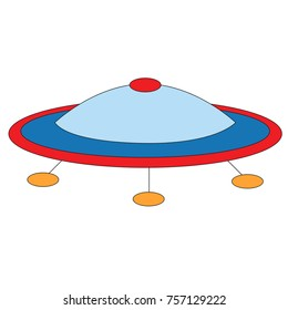 Ufo cartoon. Outlined illustration with thin line black stroke