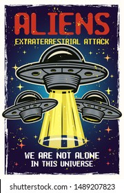 UFO colored poster with textures and text aliens extraterrestrial attack. Vector illustration