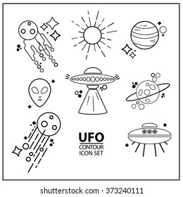 Ufo contour set.Vector linear icon set space, galaxy, aliens, universe.