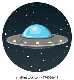 ufo flat design icon isolatd on white background
