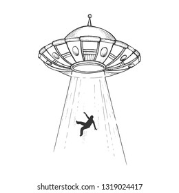 UFO Flying saucer kidnaps human person sketch engraving vector illustration. Scratch board style imitation. Black and white hand drawn image.