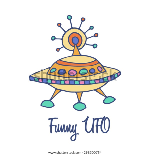 UFO flying saucer logo. Hand drawn full color brand sign