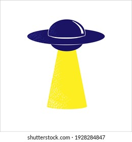 UFO Flying Saucer vector color illustration. Web and print design for fashion, label, wall art. White background.