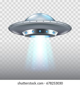 Ufo flying spaceship isolated on white photo-realistic vector illustration