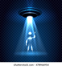 UFO invasion sky light beam with alien isolated on transparent background. Vector illustration