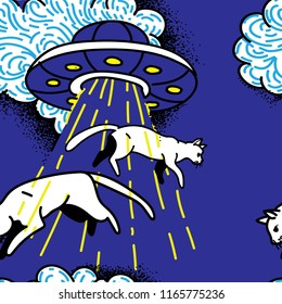 UFO kidnaps cats. Cats fly in the air. Funny drawing by hand. seamless pattern. A funny background.