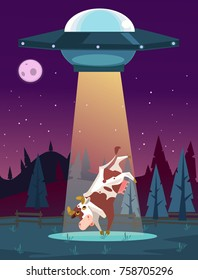 UFO kidnaps cow character. Vector cartoon illustration