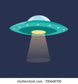UFO with Light Beam Dark Background Flat Design