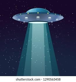 ufo with light at night