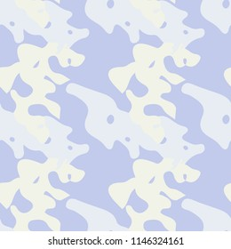 UFO military camouflage seamless pattern in light violet, beige and different shades of grey color. Seamless repeat camo pattern, usable as winter camoflauge urban print, bright background etc