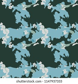 UFO military camouflage seamless pattern in green and different shades of beige and blue colors. Seamless repeat camo pattern, usable as winter camoflauge urban print, abstract background
