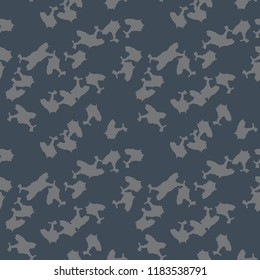 UFO military camouflage seamless pattern in different shades of grey and navy blue colors. Seamless repeat camo pattern, dark urban camoflauge, background, paintball or strikeball print