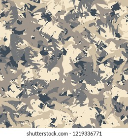UFO military camouflage seamless pattern in different shades of beige and blue colors. Seamless repeat camo pattern, urban camoflauge, background, paintball or strikeball print