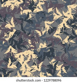 UFO military camouflage seamless pattern in beige, purple and different shades of blue colors. Seamless repeat camo pattern, dark urban camoflauge, background, paintball or strikeball print