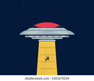 Ufo in the night sky abducts man. Flying saucer. Vector illustration