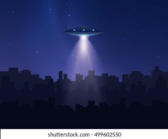 UFO in night sky above city with radiant beam. Vector illustration.