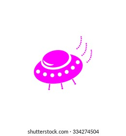 UFO. Pink flat icon. Simple vector illustration pictogram on white background