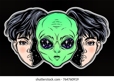 UFO sci-fi, tattoo art. Portriat of the extraordinary alien from outer space face in disguise as a human boy. Isolated vector illustration. Trendy T-shirt print. Halloween, conspiracy theory sticker.