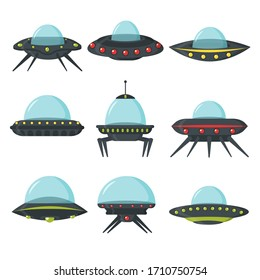 UFO set, alien spaceships, flat style. Color set of alien circle plates for the game UI. Spaceship in the form of a plate for transportation. NLO vector set in cartoon style. Vector illustration.