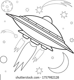 UFO in space coloring book for children