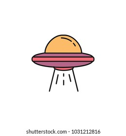 Ufo spaceship icon in cartoon style. Space illustration with Ufo in white background. Element for space design. Science space object.