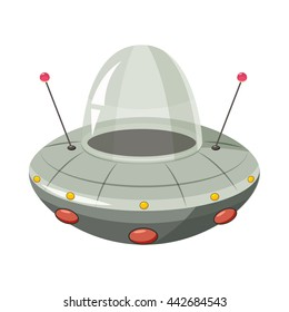 Ufo spaceship icon in cartoon style on a white background
