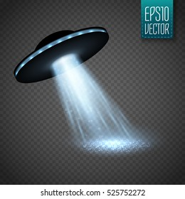 UFO spaceship with light beam isolated on transparnt background. Vector illustration