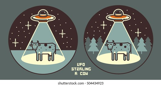 UFO stealing a cow. Rounded lineart icon