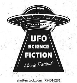 Ufo with text science fiction movie festival vector illustration in vintage style on white background