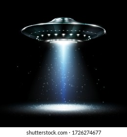 UFO. Unidentified flying object. Futuristic UFO on the black background. Photo-realistic vector illustration.
