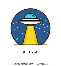 UFO Unidentified Flying Object (Line Art Vector Illustration in Flat Style Design)