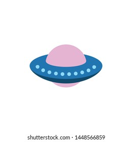 UFO Vector illustration. Alien space ship. Futuristic unknown flying object. Isolated on white background