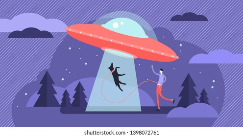 UFO vector illustration. Unidentified flying space object persons concept. Alien ship design from universe. Mystery cosmos visitors and earth invasion threat. Futuristic paranormal phenomenon fiction.