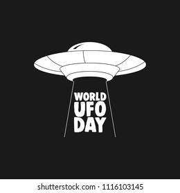 UFO world day. UFO Flying Saucer Icon isolated on white background.