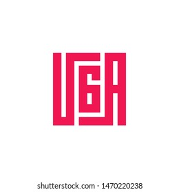 UGA Word. Modern Calligraphic Style. Cool Square Style Typography. Letter Logo Design Template Elements