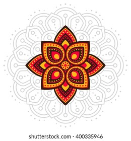 Ugadi and Gudi Padwa The New Year's Day lines shape vector pattern illustration on the background, orange flat abstract color vector indian flower in front