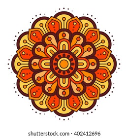 Ugadi and Gudi Padwa The New Year's Day vector floral pattern illustration, orange, yellow, brown color indian flat background with lines and flower mandala, mandala vector pattern
