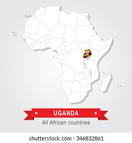 Uganda. All the countries of Africa. Flag version.