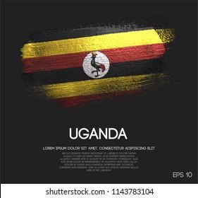 Uganda Flag Made of Glitter Sparkle Brush Paint Vector