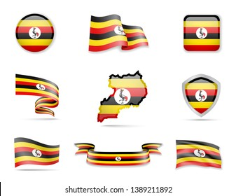 Uganda flags collection. Flags and outline of the country vector illustration set