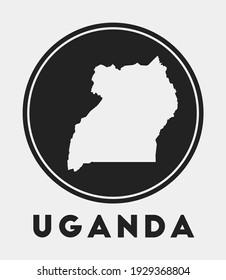 Uganda icon. Round logo with country map and title. Stylish Uganda badge with map. Vector illustration.